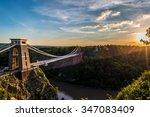 Clifton Suspension Bridge, Bristol, UK with sunset and sunbeams
