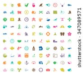 sea 100 icons universal set for ... | Shutterstock . vector #347089571