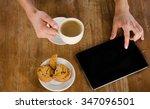 woman hands with tablet...   Shutterstock . vector #347096501