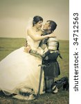 long-awaited meeting / Princess Bride and her knight / retro style toned - stock photo
