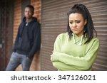 portrait of unhappy teenage... | Shutterstock . vector #347126021
