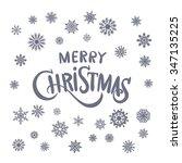 merry christmas hand lettering... | Shutterstock . vector #347135225