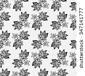 black and white doodle floral...   Shutterstock .eps vector #347141777