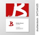 brushed letter b hand written... | Shutterstock .eps vector #347144105