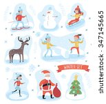 vector colorful cute winter... | Shutterstock .eps vector #347145665