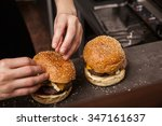 close up of female hands making ... | Shutterstock . vector #347161637