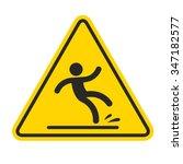 wet floor sign  yellow triangle ... | Shutterstock .eps vector #347182577