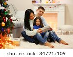 happy family on the floor with... | Shutterstock . vector #347215109