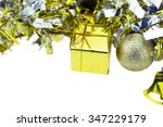 Small photo of Gift and accessary in silver and gold color. merry christmas,happy new year.