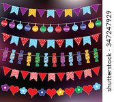 colorful bunting flags and... | Shutterstock .eps vector #347247929