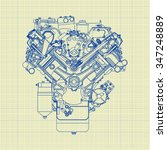 engine mechanical background... | Shutterstock .eps vector #347248889