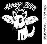 angel dog black and white... | Shutterstock .eps vector #347257079