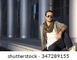 a young man in sunglasses watch ... | Shutterstock . vector #347289155
