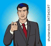 man pointing forward by finger... | Shutterstock . vector #347343197