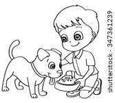 coloring book child feeding dog ... | Shutterstock .eps vector #347361239