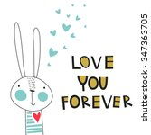 greeting card  love you forever.... | Shutterstock .eps vector #347363705