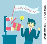 santa clause give a gift to... | Shutterstock .eps vector #347365001