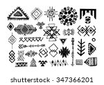set of hand drawn ethnic... | Shutterstock .eps vector #347366201