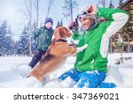 father with son playing with... | Shutterstock . vector #347369021