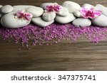 spa stones and orchid on wooden ... | Shutterstock . vector #347375741