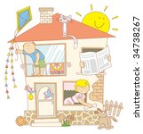 family at home   Shutterstock .eps vector #34738267