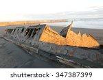 Small photo of Shipwreck of the SS Waitangi at Patea, Taranaki, New Zealand at Sunset