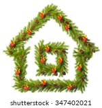 christmas wreath in the shape... | Shutterstock . vector #347402021