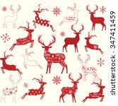 merry christmas reindeer... | Shutterstock .eps vector #347411459