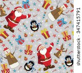 christmas seamless pattern with ... | Shutterstock .eps vector #347415791