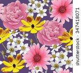 abstract flower seamless...   Shutterstock .eps vector #347418071