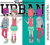 vector fashion girls urban...   Shutterstock .eps vector #347419781