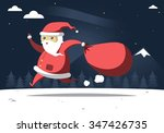 running santa with package on... | Shutterstock .eps vector #347426735