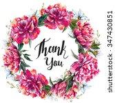 round wreath peony flowers ... | Shutterstock . vector #347430851
