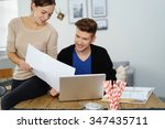 couple with financial documents ... | Shutterstock . vector #347435711