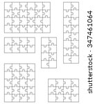set of white puzzles  vector | Shutterstock .eps vector #347461064