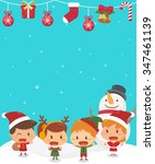 kids and christmas. flat design ... | Shutterstock .eps vector #347461139