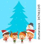 kids and christmas. flat design ... | Shutterstock .eps vector #347461145
