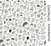 nature doodle seamless... | Shutterstock .eps vector #347461421