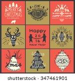 calligraphic christmas greeting ... | Shutterstock .eps vector #347461901