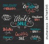 vector set of hand lettering... | Shutterstock .eps vector #347469545