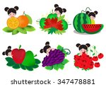 cute girl with fruits. | Shutterstock .eps vector #347478881