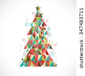 christmas tree with geometric... | Shutterstock .eps vector #347483711