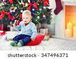 funny baby  sitting on sledge... | Shutterstock . vector #347496371