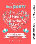 happy valentines day poster.... | Shutterstock .eps vector #347522861