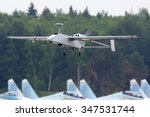 KUBINKA, MOSCOW REGION, RUSSIA - JUNE 14, 2015: UAV Forpost of russian air force takes off at Kubinka air force base. - stock photo
