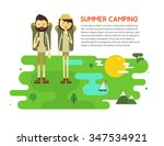 flat cartoon couple with hiking ... | Shutterstock . vector #347534921