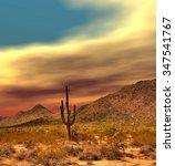 sunset sonora desert in central ... | Shutterstock . vector #347541767
