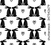 seamless cute pattern with hare.... | Shutterstock .eps vector #347542679
