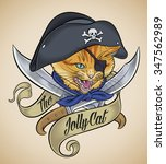 vintage tattoo design of a cat... | Shutterstock . vector #347562989
