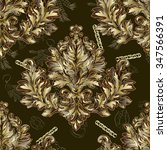 pattern with gold damask  | Shutterstock .eps vector #347566391
